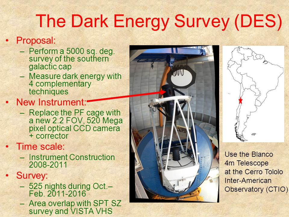 The Dark Energy Survey (DES) Proposal: –Perform a 5000 sq. deg. survey of the southern galactic cap –Measure dark energy with 4 complementary techniqu