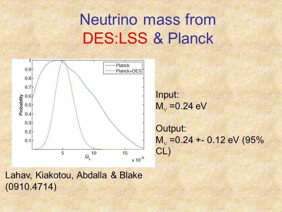 Neutrino mass from DES:LSS & Planck Lahav, Kiakotou, Abdalla & Blake (0910.4714) Input: M =0.24 eV Output:  M =0.24 +- 0.12 eV (95% CL)