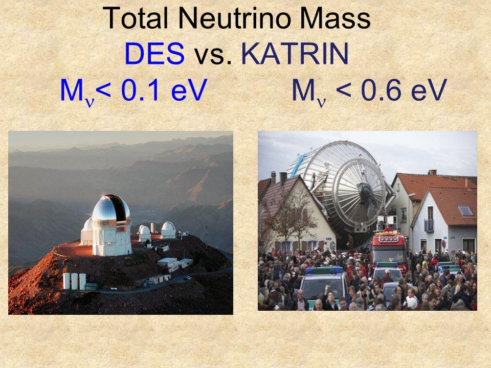 Total Neutrino Mass DES vs. KATRIN M < 0.1 eV M < 0.6 eV t