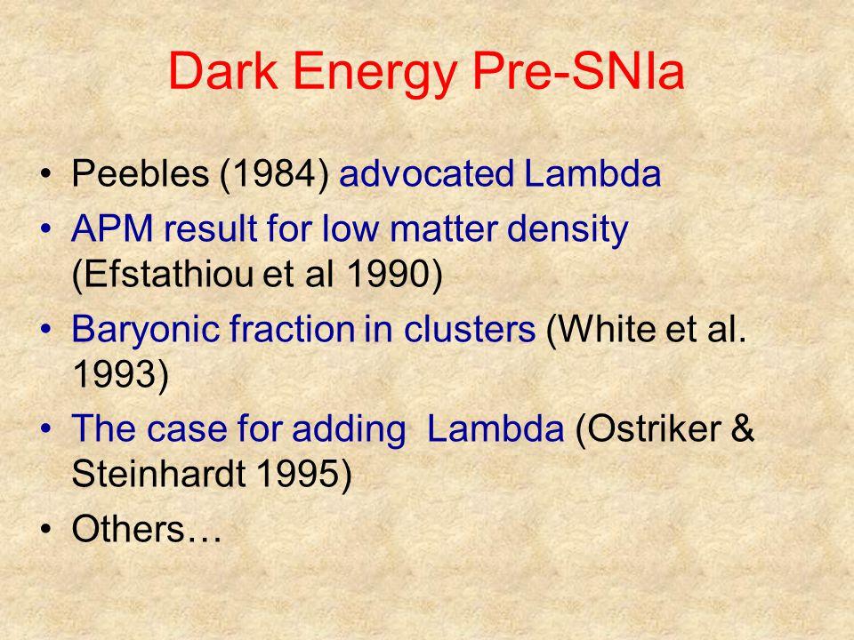 Dark Energy Pre-SNIa Peebles (1984) advocated Lambda APM result for low matter density (Efstathiou et al 1990) Baryonic fraction in clusters (White et