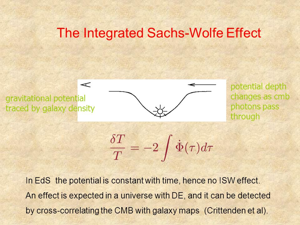 The Integrated Sachs-Wolfe Effect gravitational potential traced by galaxy density potential depth changes as cmb photons pass through In EdS the potential is constant with time, hence no ISW effect.