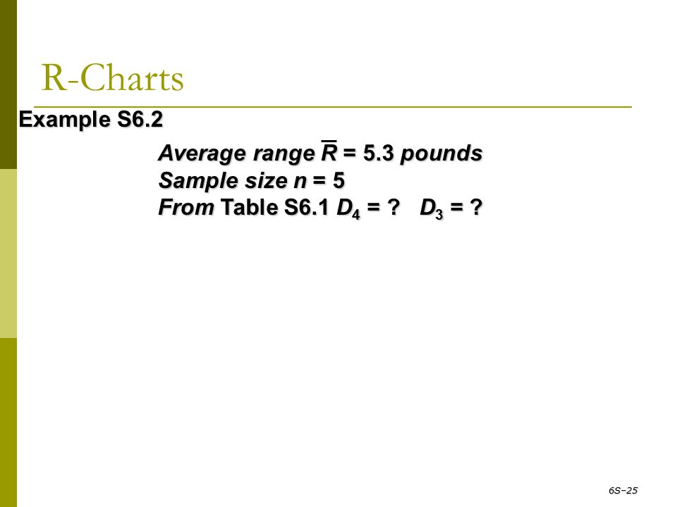 R-Charts Average range R = 5.3 pounds Sample size n = 5 From Table S6.1 D 4 = ? D 3 = ? Example S6.2 6S–25