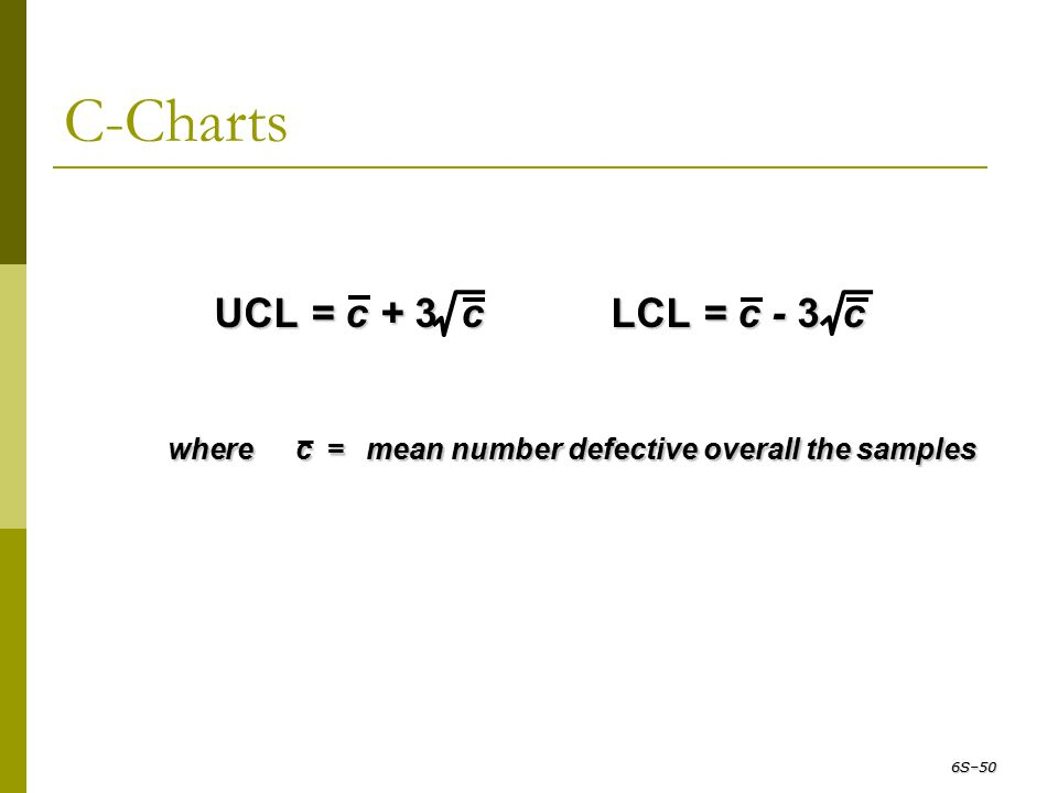 C-Charts wherec=mean number defective overall the samples UCL = c + 3 c UCL = c + 3 c LCL = c - 3 c LCL = c - 3 c 6S–50