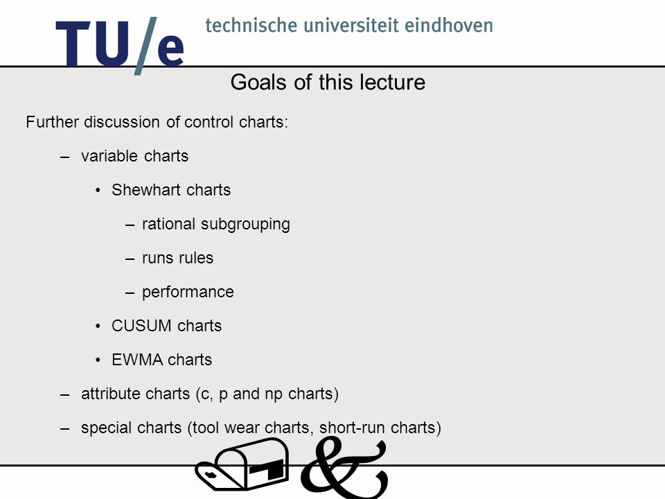 /k Goals of this lecture Further discussion of control charts: –variable charts Shewhart charts –rational subgrouping –runs rules –performance CUSUM c