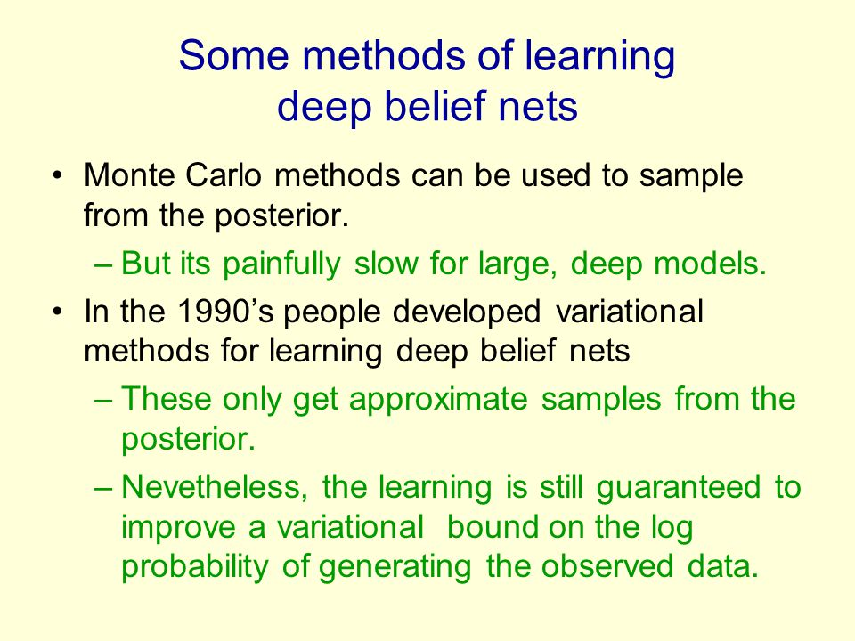 Some methods of learning deep belief nets Monte Carlo methods can be used to sample from the posterior. –But its painfully slow for large, deep models