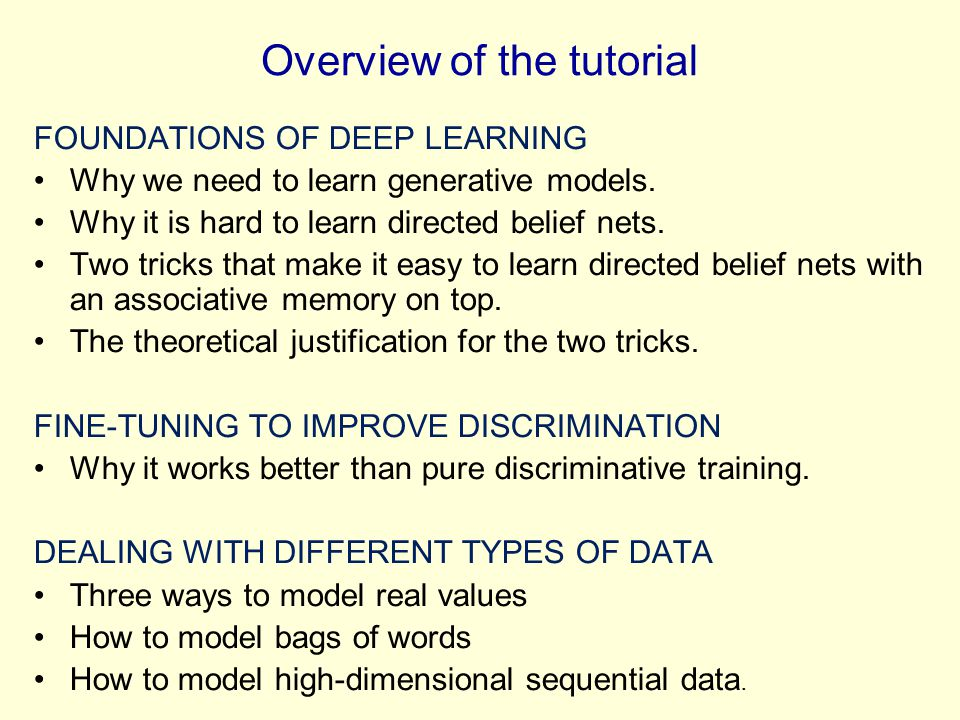 Overview of the tutorial FOUNDATIONS OF DEEP LEARNING Why we need to learn generative models. Why it is hard to learn directed belief nets. Two tricks