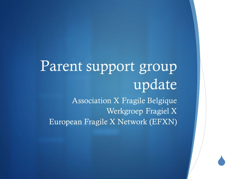  Parent support group update Association X Fragile Belgique Werkgroep Fragiel X European Fragile X Network (EFXN)