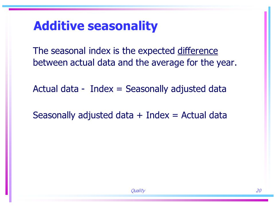 Quality20 Additive seasonality The seasonal index is the expected difference between actual data and the average for the year.