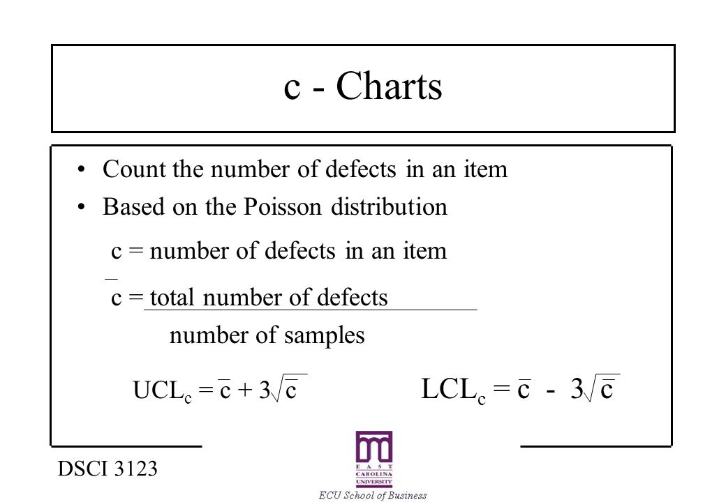 c - Charts Count the number of defects in an item Based on the Poisson distribution c = number of defects in an item c = total number of defects number of samples UCL c = c + 3 c LCL c = c - 3 c DSCI 3123