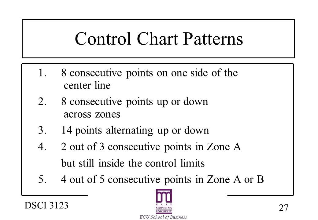 27 DSCI 3123 Control Chart Patterns 1. 8 consecutive points on one side of the center line 2.