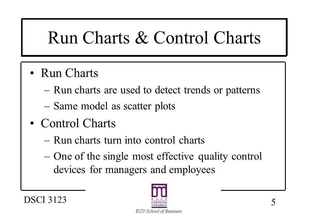 5 DSCI 3123 Run Charts & Control Charts Run Charts –Run charts are used to detect trends or patterns –Same model as scatter plots Control Charts –Run charts turn into control charts –One of the single most effective quality control devices for managers and employees