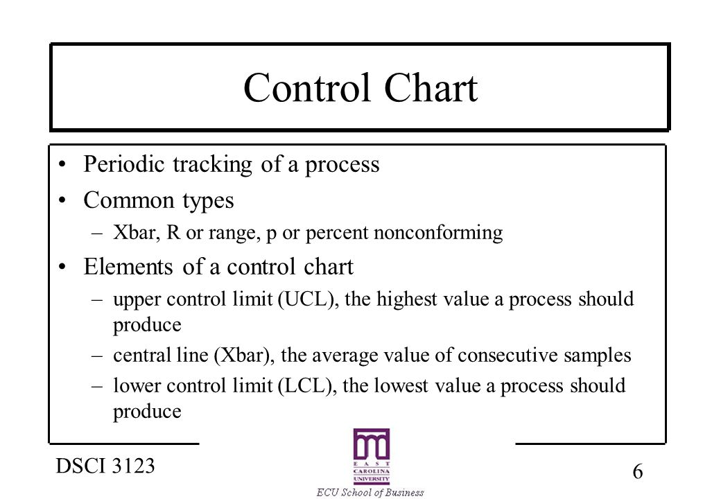 7 DSCI 3123 Control Charts - Xbar Shows average outputs of a process UCL LCL Central line- Xbar Scale