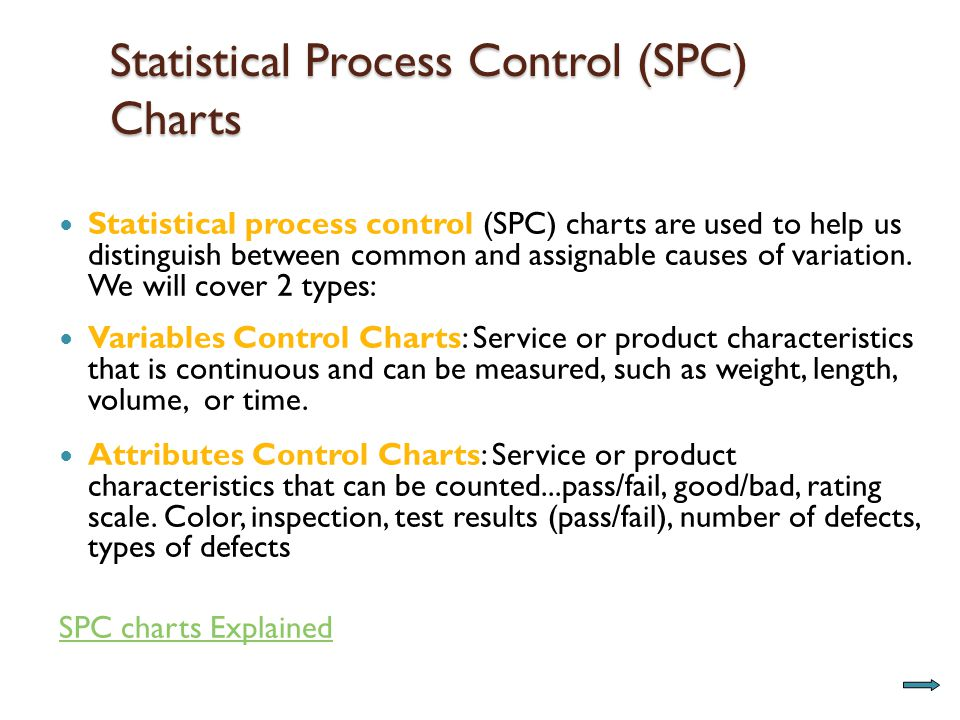Statistical Process Control (SPC) Charts Statistical process control (SPC) charts are used to help us distinguish between common and assignable causes of variation.