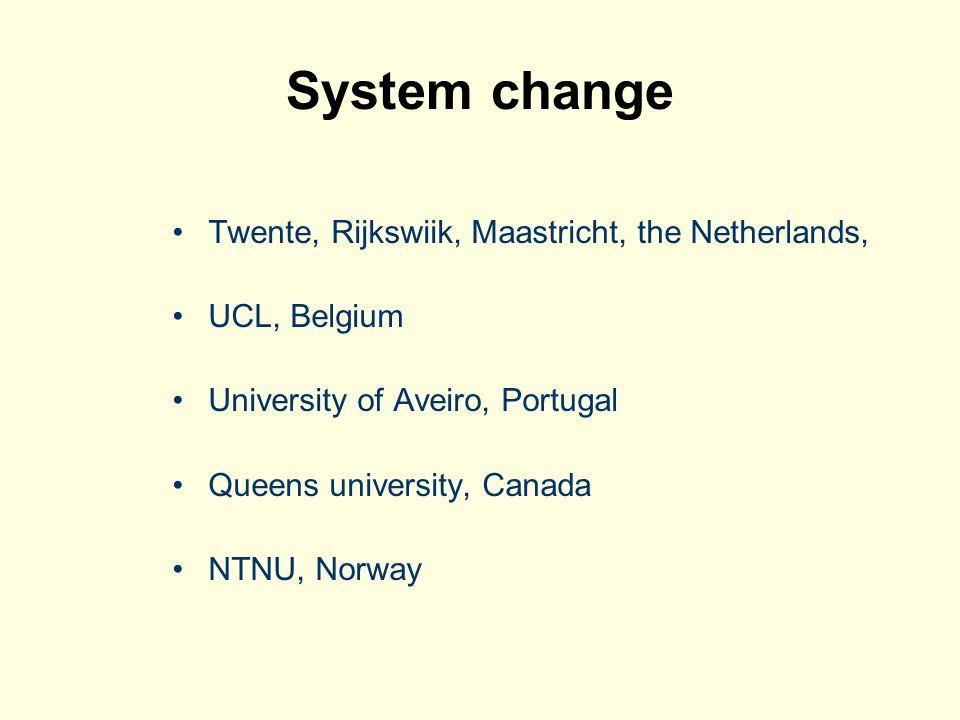 System change Twente, Rijkswiik, Maastricht, the Netherlands, UCL, Belgium University of Aveiro, Portugal Queens university, Canada NTNU, Norway