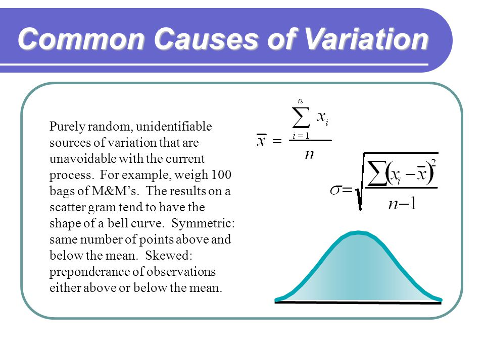 Common Causes of Variation Purely random, unidentifiable sources of variation that are unavoidable with the current process.