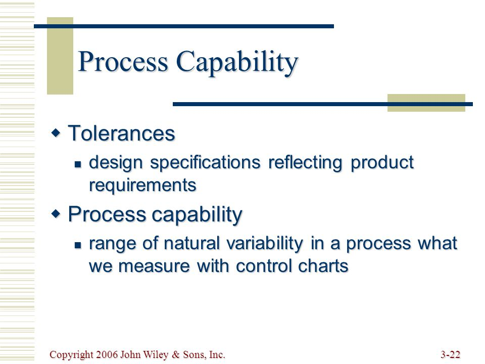 Copyright 2006 John Wiley & Sons, Inc.3-22 Process Capability  Tolerances design specifications reflecting product requirements design specifications reflecting product requirements  Process capability range of natural variability in a process what we measure with control charts range of natural variability in a process what we measure with control charts