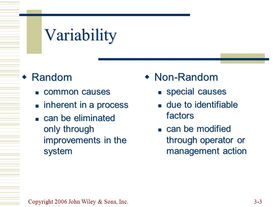 Copyright 2006 John Wiley & Sons, Inc.3-3 Variability  Random common causes common causes inherent in a process inherent in a process can be eliminat