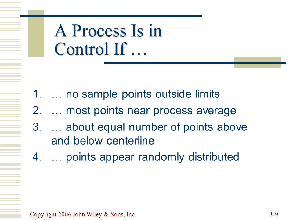 Copyright 2006 John Wiley & Sons, Inc.3-9 A Process Is in Control If … 1.… no sample points outside limits 2.… most points near process average 3.… about equal number of points above and below centerline 4.… points appear randomly distributed