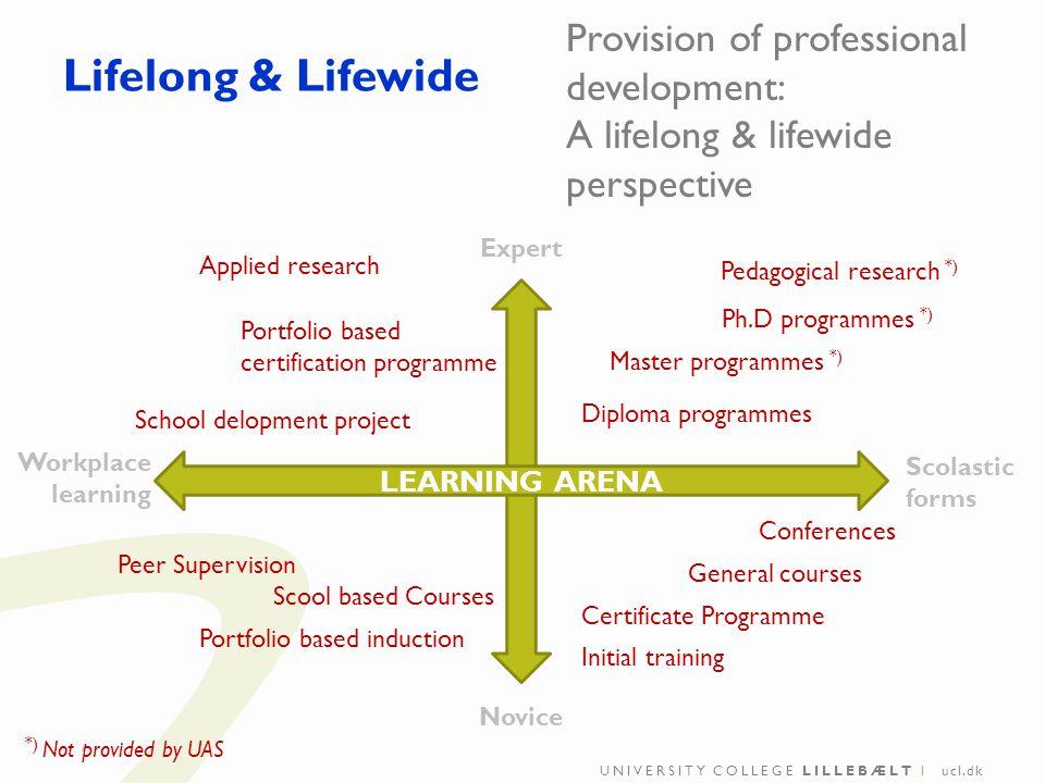UNIVERSITY COLLEGE LILLEBÆLT I ucl.dk Lifelong & Lifewide Provision of professional development: A lifelong & lifewide perspective Ph.D programmes *)