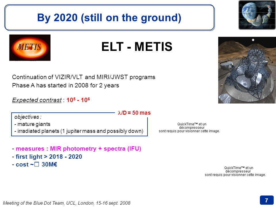Meeting of the Blue Dot Team, UCL, London, 15-16 sept. 2008 7 By 2020 (still on the ground) ELT - METIS Continuation of VIZIR/VLT and MIRI/JWST progra
