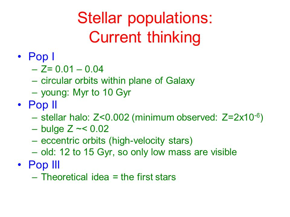 Stellar populations: Current thinking Pop I –Z= 0.01 – 0.04 –circular orbits within plane of Galaxy –young: Myr to 10 Gyr Pop II –stellar halo: Z<0.002 (minimum observed: Z=2x10 -6 ) –bulge Z ~< 0.02 –eccentric orbits (high-velocity stars) –old: 12 to 15 Gyr, so only low mass are visible Pop III –Theoretical idea = the first stars
