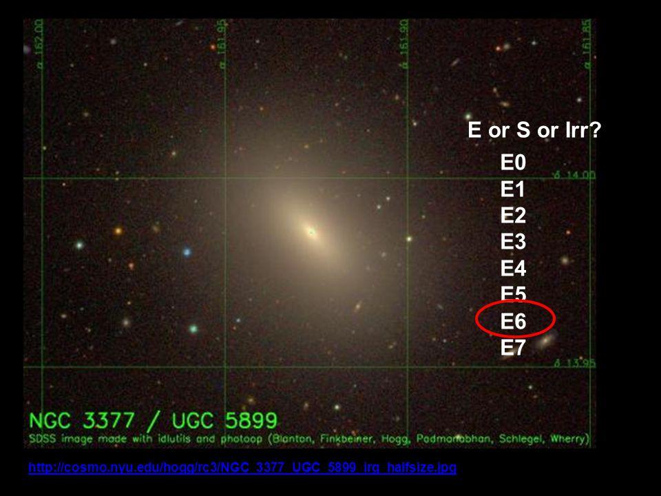 NGC 3377 http://cosmo.nyu.edu/hogg/rc3/NGC_3377_UGC_5899_irg_halfsize.jpghttp://cosmo.nyu.edu/hogg/rc3/NGC_3377_UGC_5899_irg_halfsize.jpg Copyright David Hogg E or S or Irr.
