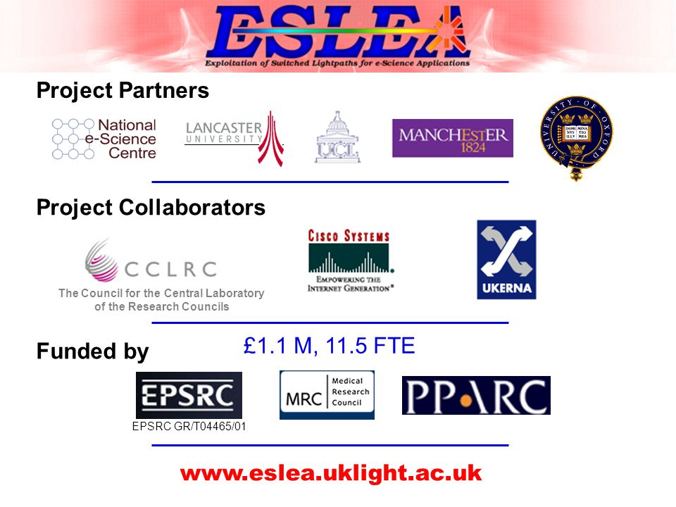 Project Partners Project Collaborators The Council for the Central Laboratory of the Research Councils Funded by EPSRC GR/T04465/01 www.eslea.uklight.ac.uk £1.1 M, 11.5 FTE