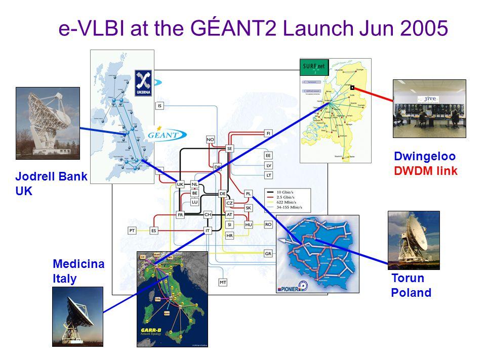 Jodrell Bank UK Dwingeloo DWDM link Medicina Italy Torun Poland e-VLBI at the GÉANT2 Launch Jun 2005