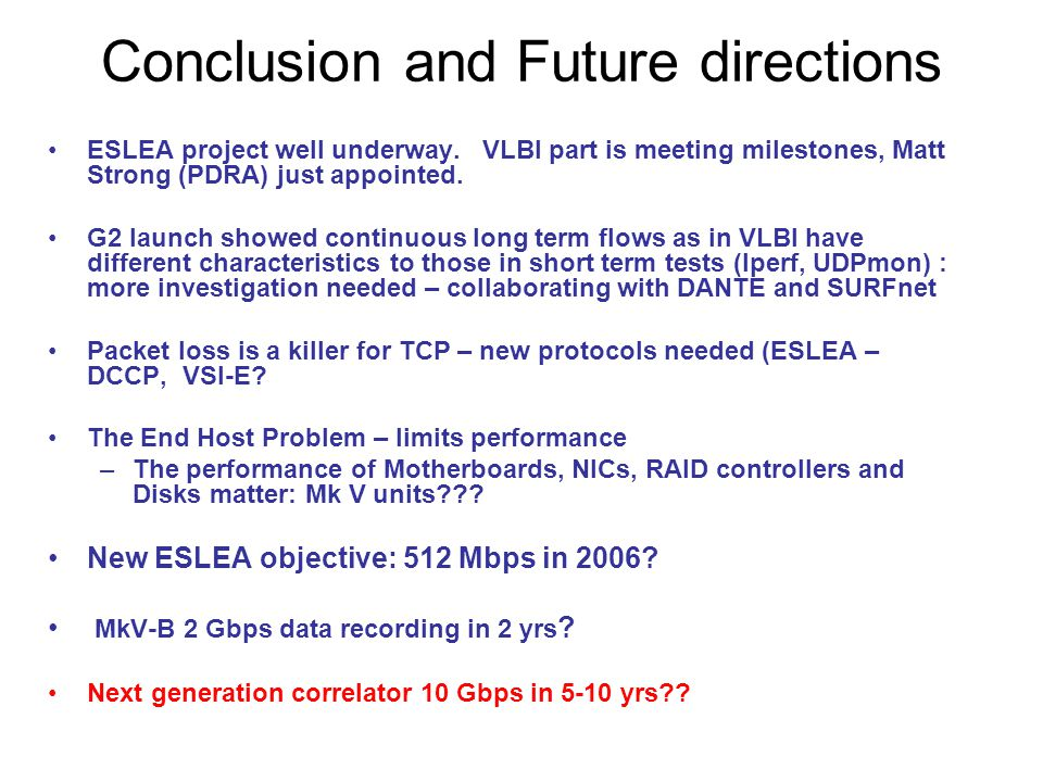 Conclusion and Future directions ESLEA project well underway. VLBI part is meeting milestones, Matt Strong (PDRA) just appointed. G2 launch showed con