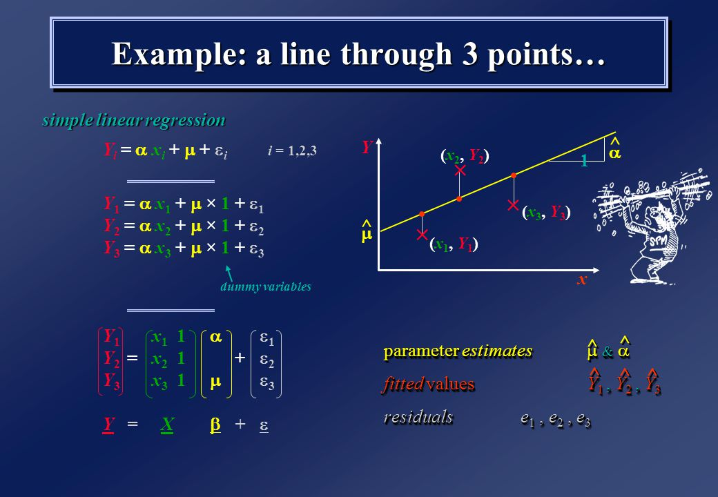 Example: a line through 3 points… Y i =  x i +  +  i i = 1,2,3 Y 1 =  x 1 +  × 1 +  1 Y 2 =  x 2 +  × 1 +  2 Y 3 =  x 3 +  × 1 +  3 Y 1 x 1 1  1 Y 2 =x 2 1+  2 Y 3 x 3 1  3 Y= X  +  simple linear regression parameter estimates  &  fitted valuesY 1, Y 2, Y 3 residualse 1, e 2, e 3 parameter estimates  &  fitted valuesY 1, Y 2, Y 3 residualse 1, e 2, e 3 x Y  (x 1, Y 1 )   (x 2, Y 2 ) (x 3, Y 3 )  ^ ^  1 ^ ^ ^ ^ ^ ^ ^ ^ ^ ^ dummy variables
