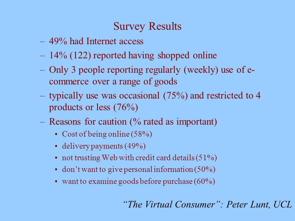 The Virtual Consumer : Peter Lunt, UCL Survey Results –49% had Internet access –14% (122) reported having shopped online –Only 3 people reporting regularly (weekly) use of e- commerce over a range of goods –typically use was occasional (75%) and restricted to 4 products or less (76%) –Reasons for caution (% rated as important) Cost of being online (58%) delivery payments (49%) not trusting Web with credit card details (51%) don't want to give personal information (50%) want to examine goods before purchase (60%)