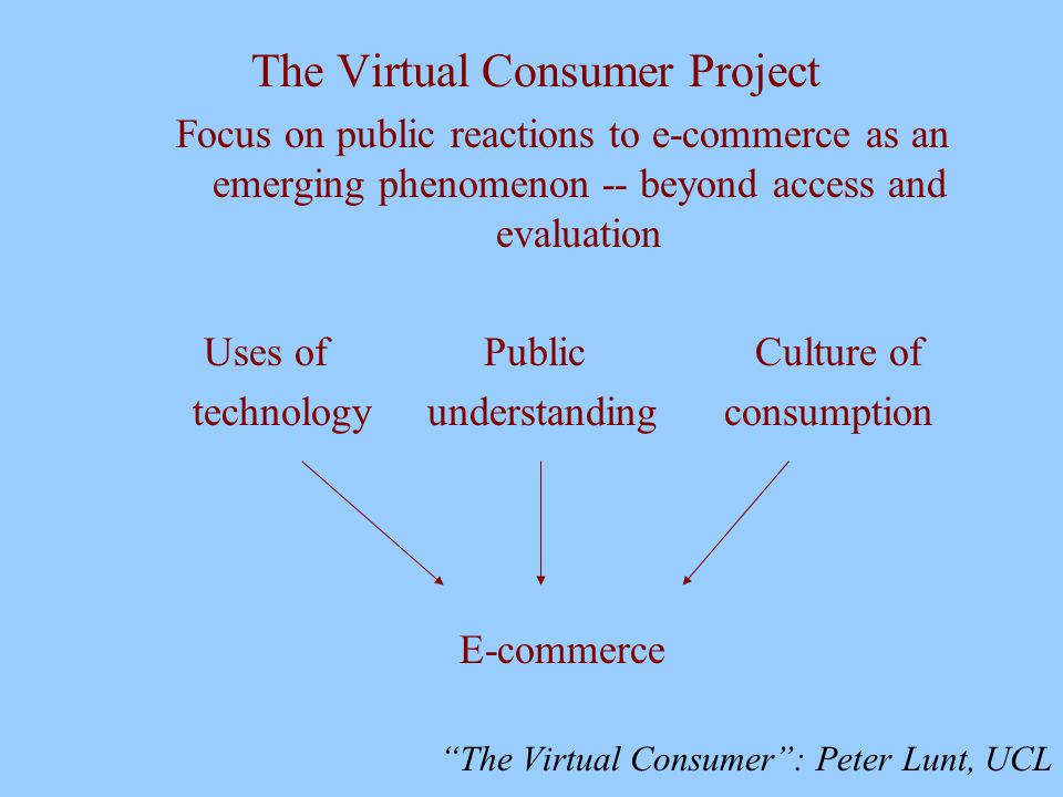 The Virtual Consumer : Peter Lunt, UCL The Virtual Consumer Project Focus on public reactions to e-commerce as an emerging phenomenon -- beyond access and evaluation Uses of Public Culture of technology understanding consumption E-commerce