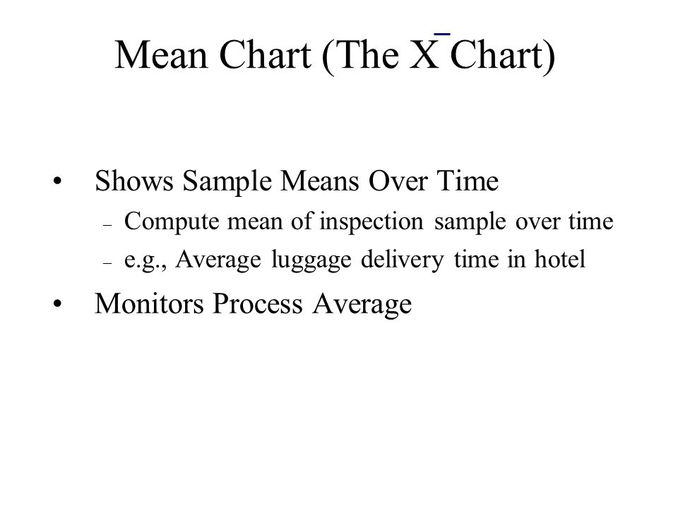 Mean Chart (The X Chart) Shows Sample Means Over Time – Compute mean of inspection sample over time – e.g., Average luggage delivery time in hotel Monitors Process Average