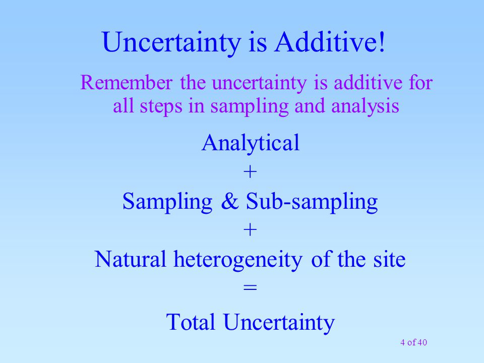4 of 40 Analytical + Sampling & Sub-sampling + Natural heterogeneity of the site = Total Uncertainty Uncertainty is Additive! Remember the uncertainty