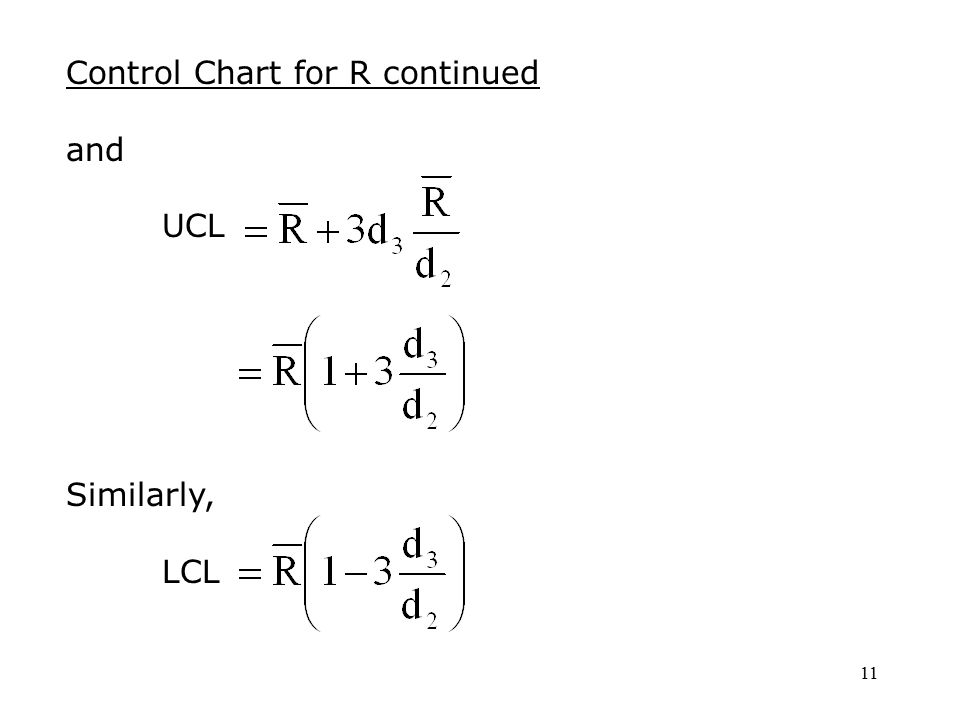 11 Control Chart for R continued and UCL Similarly, LCL