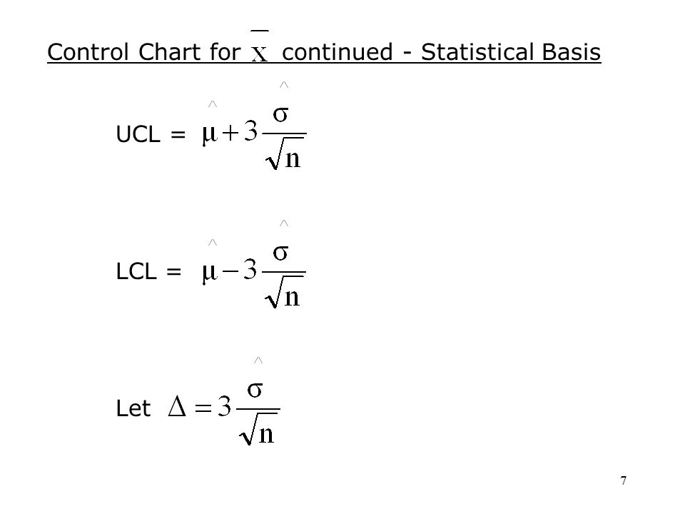 7 Control Chart for continued - Statistical Basis UCL = LCL = Let