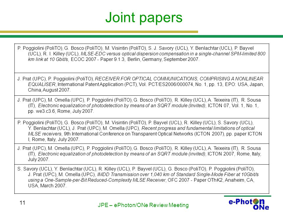 JPE – ePhoton/ONe Review Meeting 11 Joint papers P.