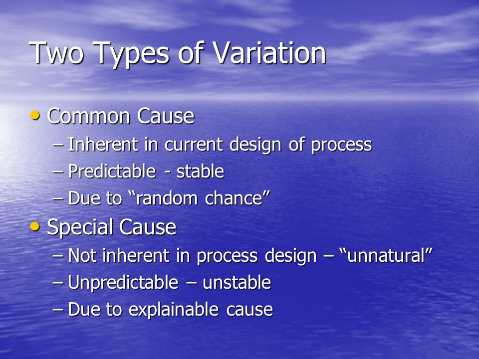 "Two Types of Variation Common Cause Common Cause –Inherent in current design of process –Predictable - stable –Due to ""random chance"" Special Cause Sp"