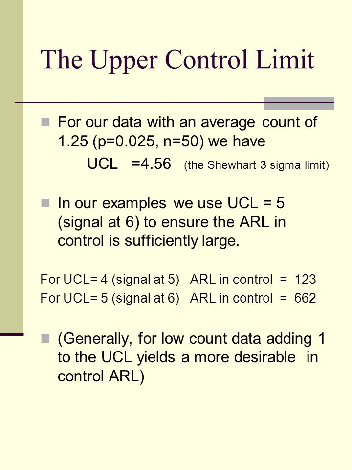 The Upper Control Limit For our data with an average count of 1.25 (p=0.025, n=50) we have UCL =4.56 (the Shewhart 3 sigma limit) In our examples we u