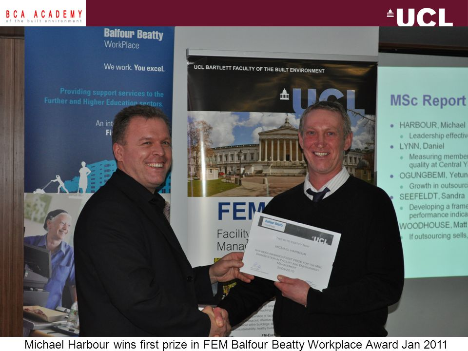 Michael Harbour wins first prize in FEM Balfour Beatty Workplace Award Jan 2011