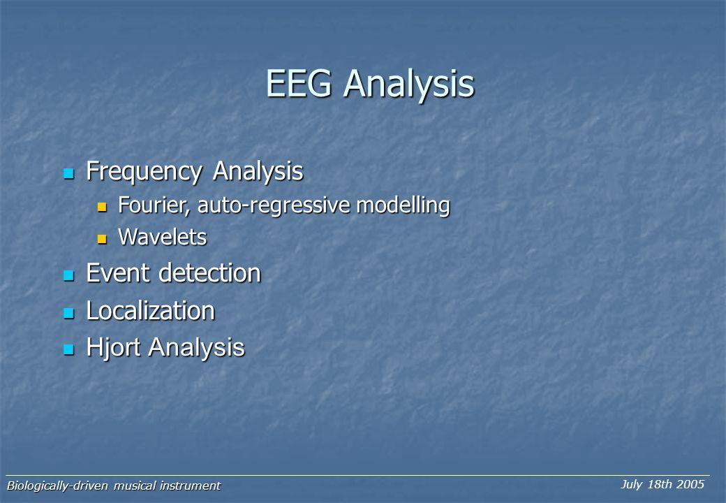 EEG Analysis Frequency Analysis Frequency Analysis Fourier, auto-regressive modelling Fourier, auto-regressive modelling Wavelets Wavelets Event detec