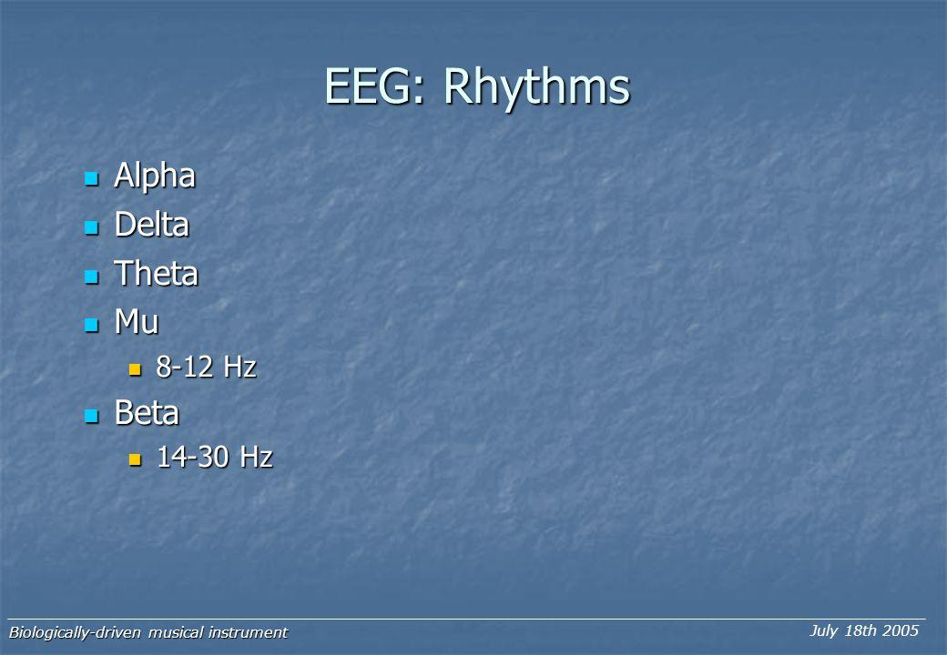 EEG: Rhythms Alpha Alpha Delta Delta Theta Theta Mu Mu 8-12 Hz 8-12 Hz Beta Beta 14-30 Hz 14-30 Hz Biologically-driven musical instrument July 18th 2005
