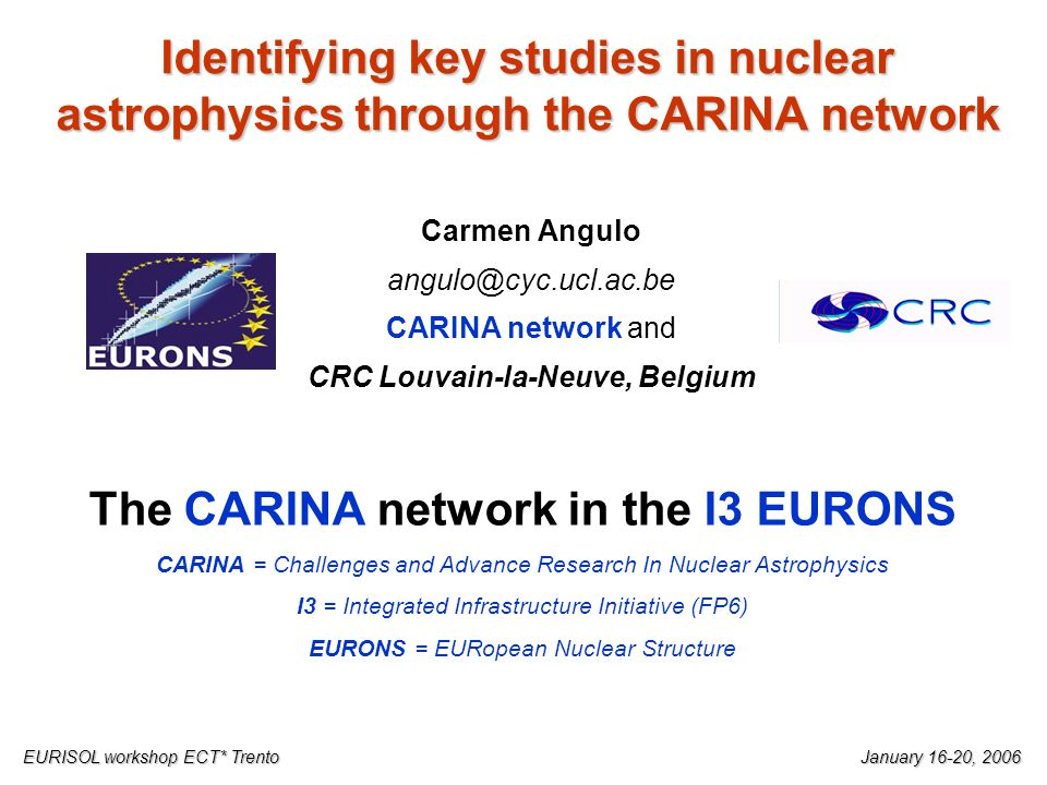 Identifying key studies in nuclear astrophysics through the CARINA network Carmen Angulo angulo@cyc.ucl.ac.be CARINA network and CRC Louvain-la-Neuve, Belgium EURISOL workshop ECT* TrentoJanuary 16-20, 2006 The CARINA network in the I3 EURONS CARINA = Challenges and Advance Research In Nuclear Astrophysics I3 = Integrated Infrastructure Initiative (FP6) EURONS = EURopean Nuclear Structure