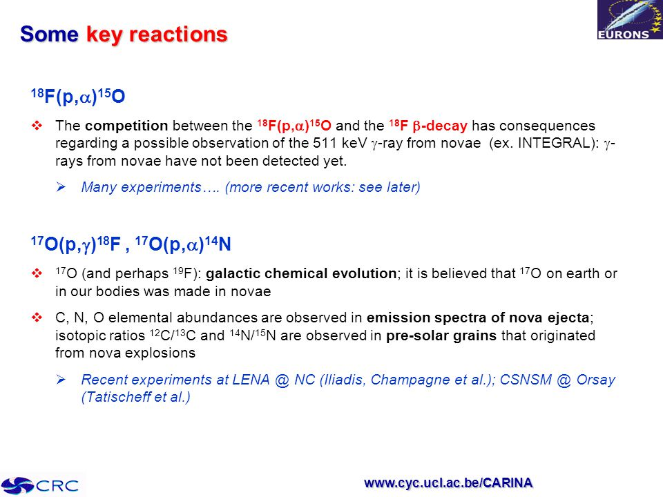 www.cyc.ucl.ac.be/CARINA Some key reactions 18 F(p,  ) 15 O  The competition between the 18 F(p,  ) 15 O and the 18 F  -decay has consequences regarding a possible observation of the 511 keV  -ray from novae (ex.