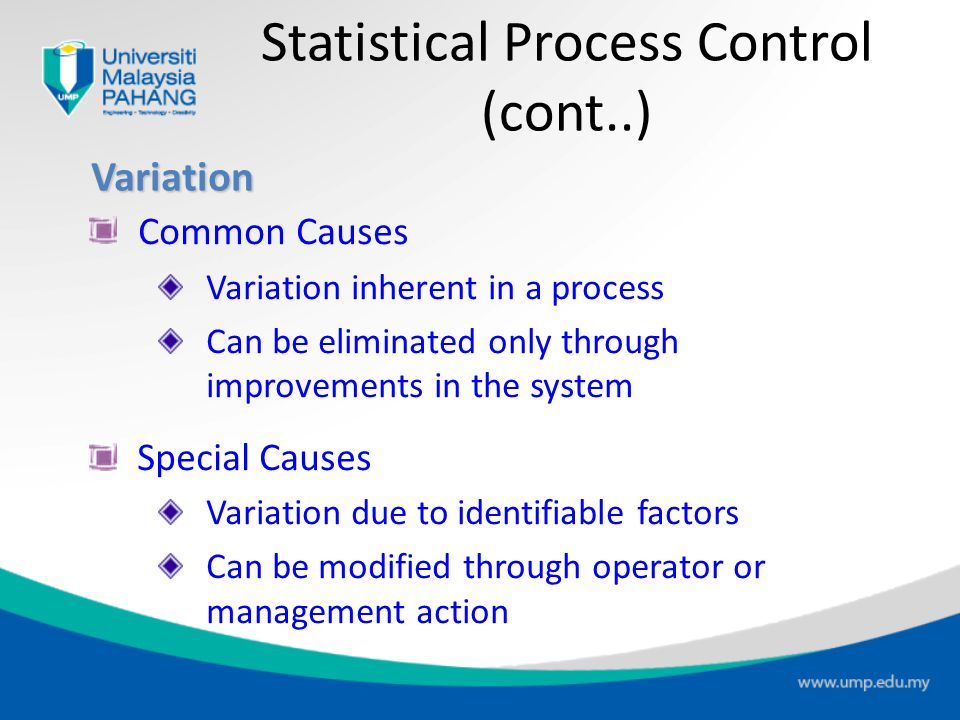 Statistical Process Control Take periodic samples from process Plot sample points on control chart Determine if process is within limits Prevent quali