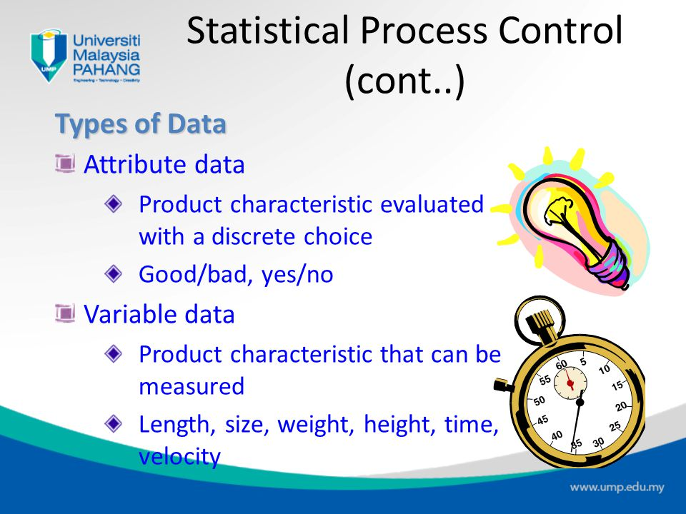 Types of Data Attribute data Product characteristic evaluated with a discrete choice Good/bad, yes/no Variable data Product characteristic that can be measured Length, size, weight, height, time, velocity Statistical Process Control (cont..)