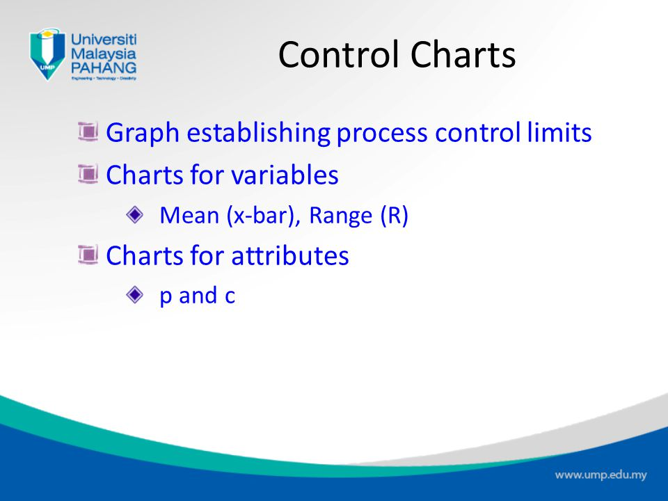 Control Charts Graph establishing process control limits Charts for variables Mean (x-bar), Range (R) Charts for attributes p and c