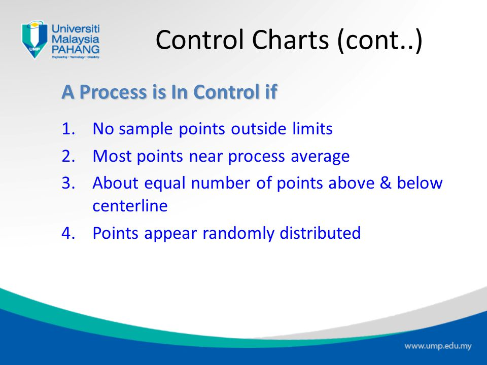 Process Control Chart 12345678910 Sample number Uppercontrollimit Processaverage Lowercontrollimit Out of control Control Charts (cont..)