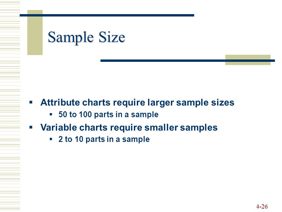 4-26 Sample Size  Attribute charts require larger sample sizes  50 to 100 parts in a sample  Variable charts require smaller samples  2 to 10 part
