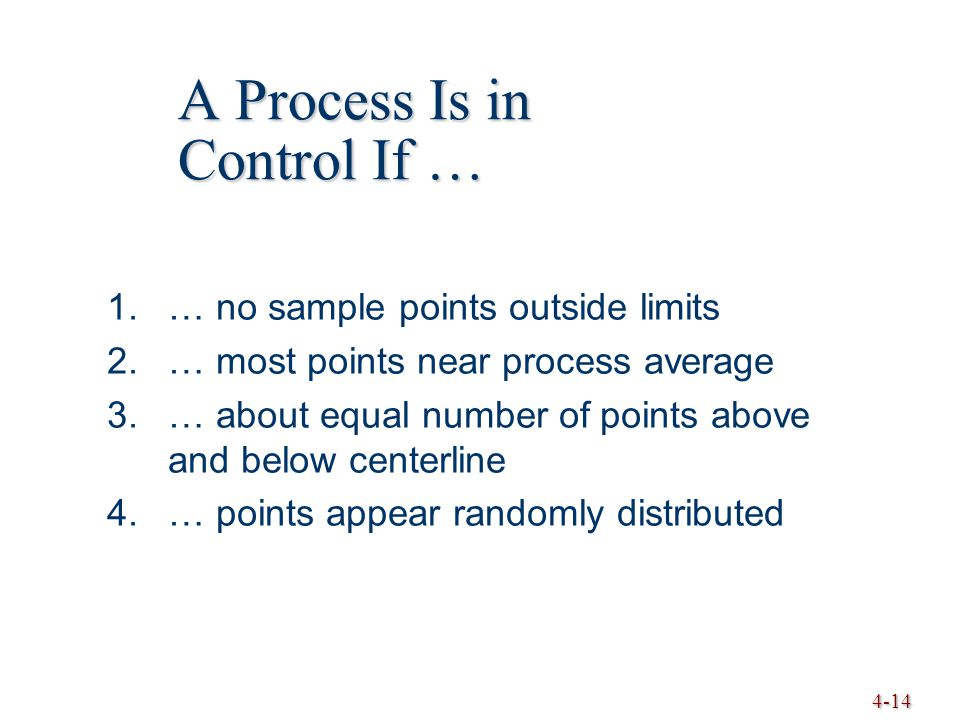 4-14 A Process Is in Control If … 1.… no sample points outside limits 2.… most points near process average 3.… about equal number of points above and